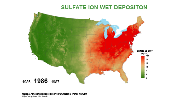 Total deposition of sulfur 1986
