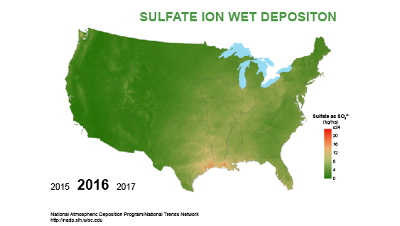 Total deposition of sulfur 2016